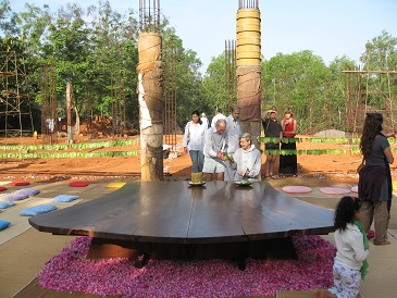 28 April 2012: Peace Table was placed in the themn incoplete Hall of Peace and a meditation was conducted around it